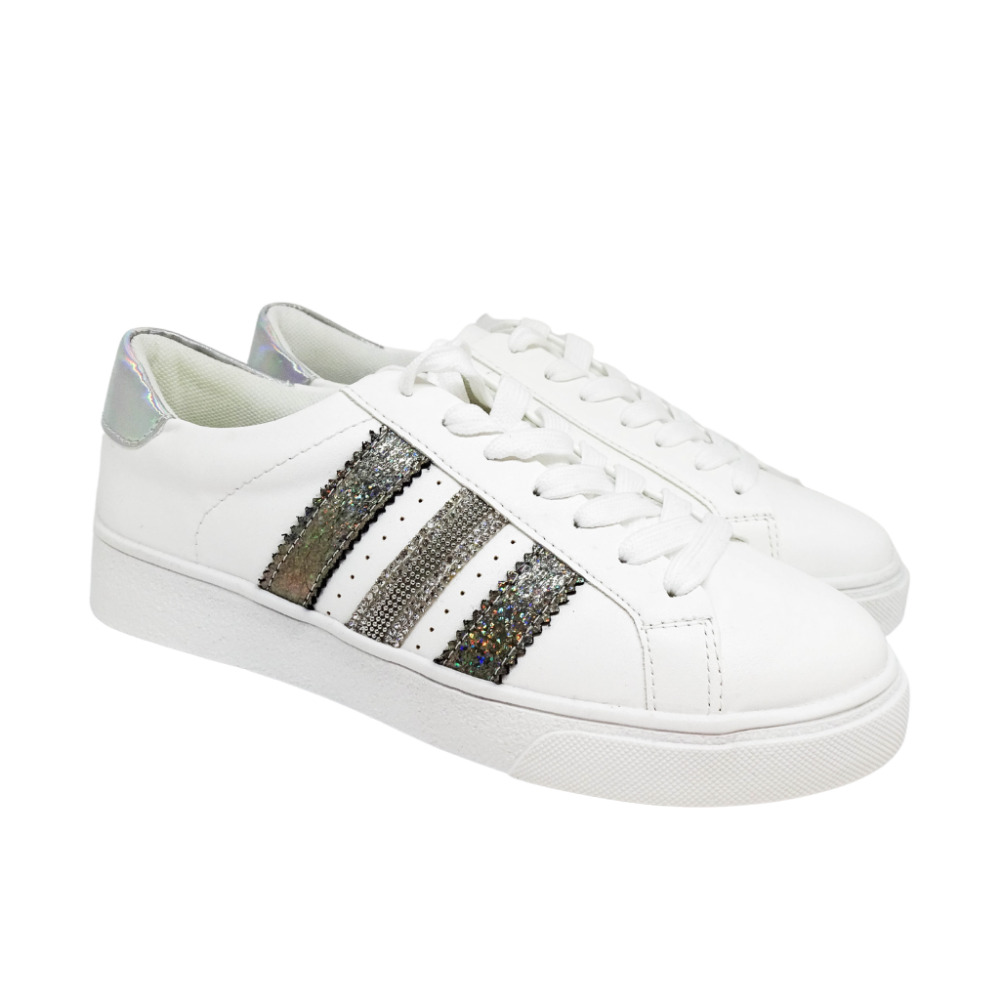 Sneakers Strisce Lurex E Strass