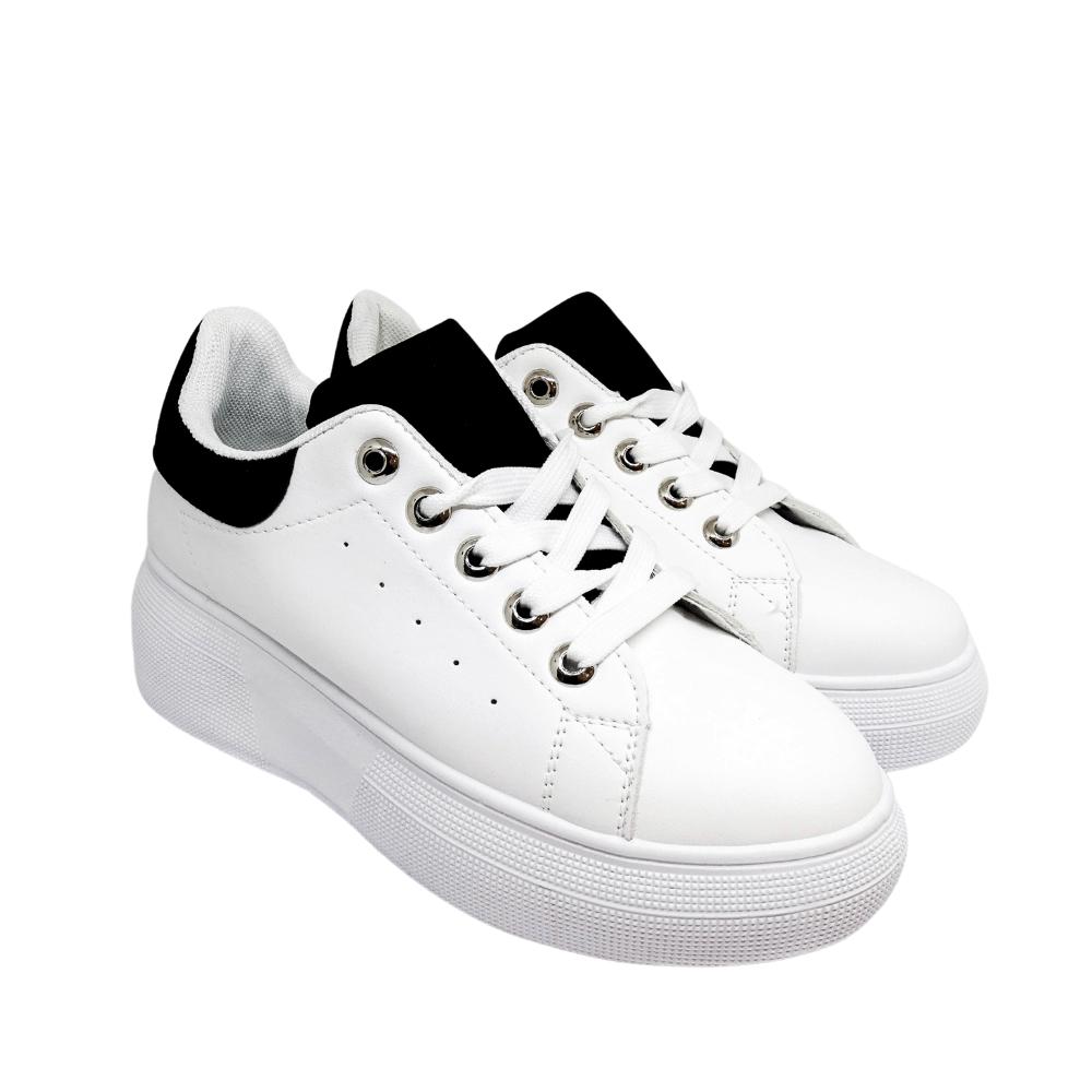 Sneakers Bianche Linguetta Camoscio