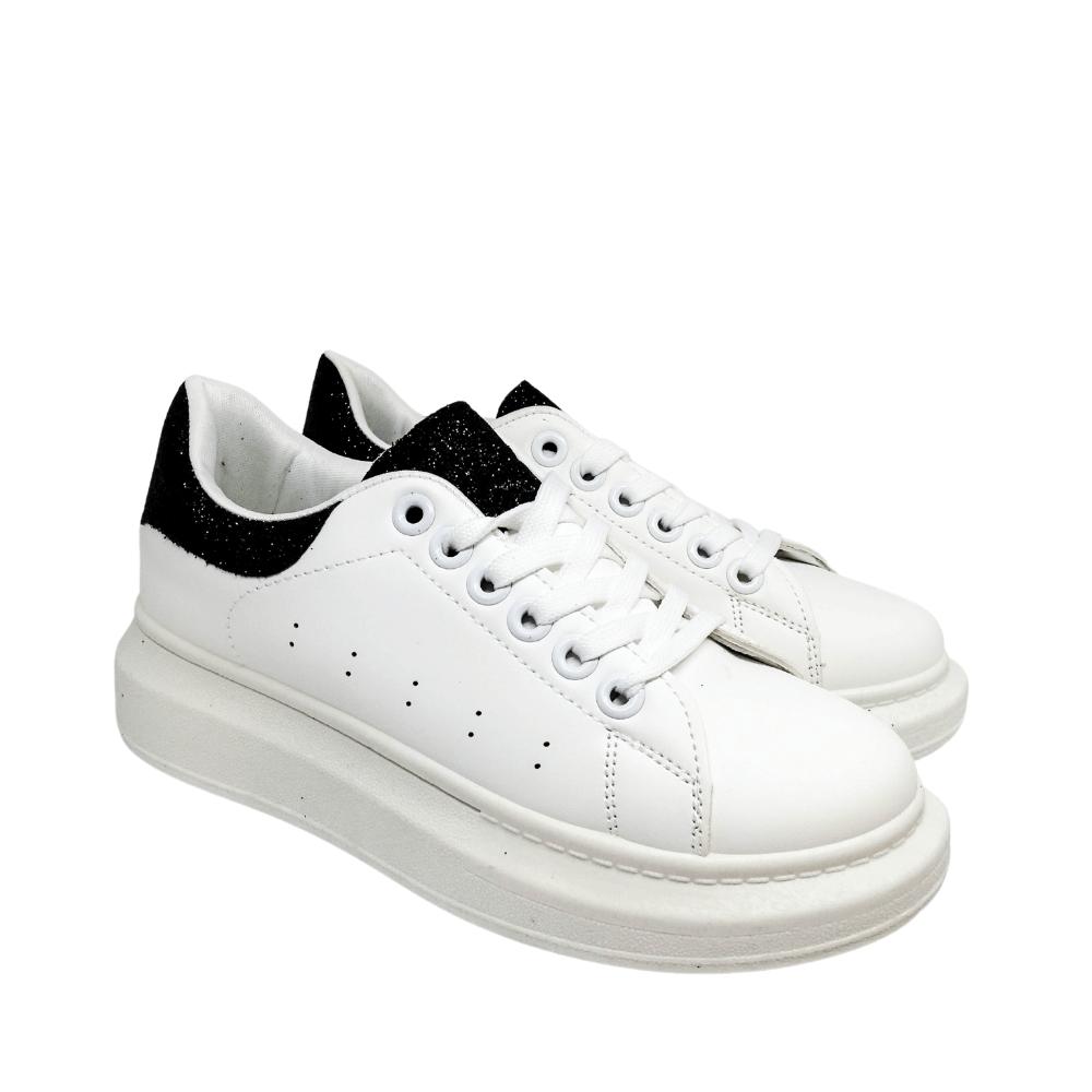 Sneakers Bianche Glitter Nero