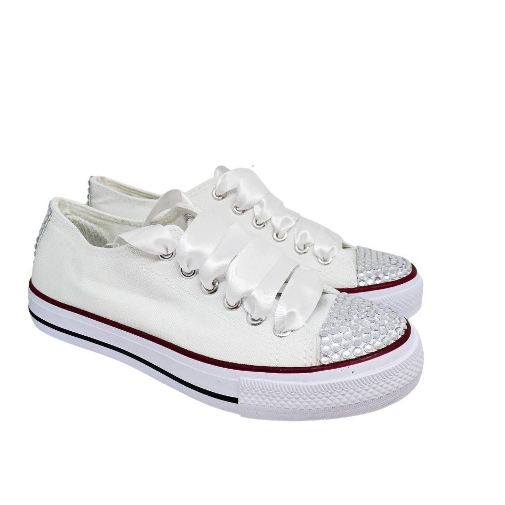 Sneakers Tela Strass