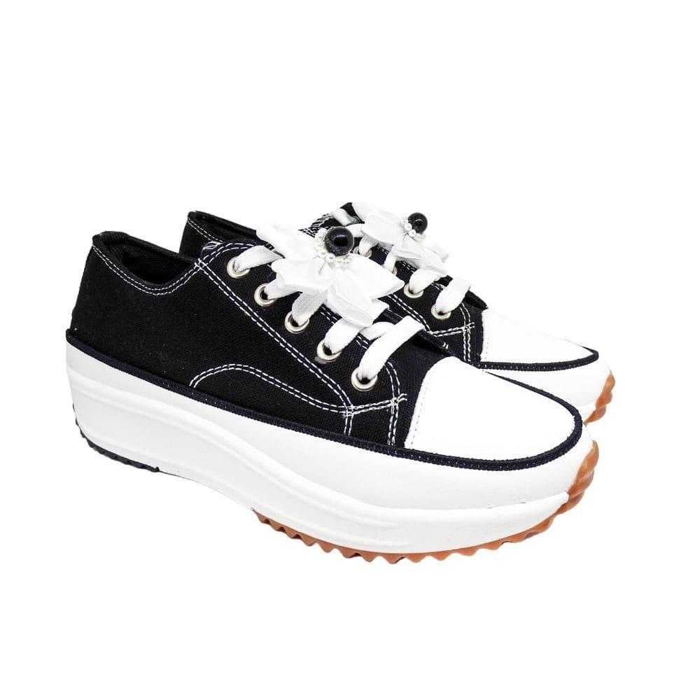 Sneakers Tela Fiore Bianco
