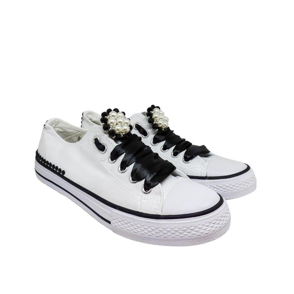 Sneakers Tela Bianche E Nere