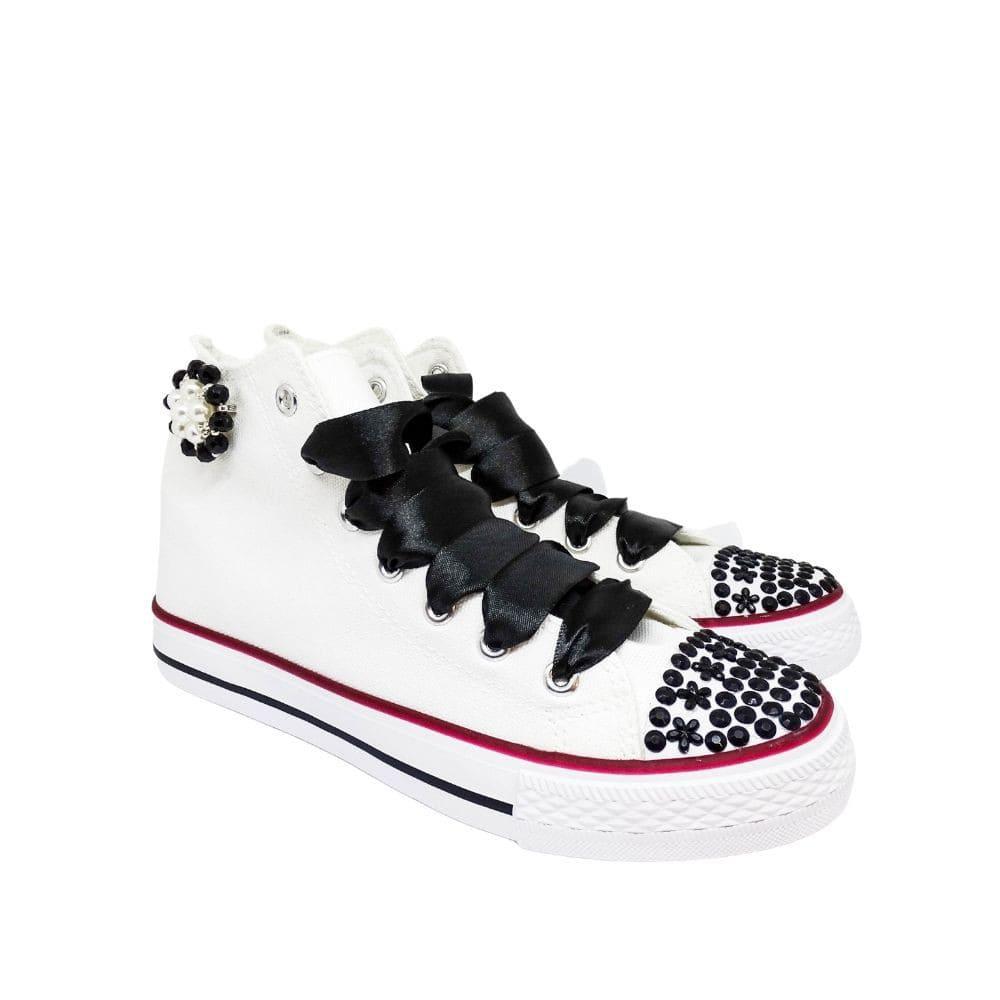 Sneakers Bianche E Nere Strass