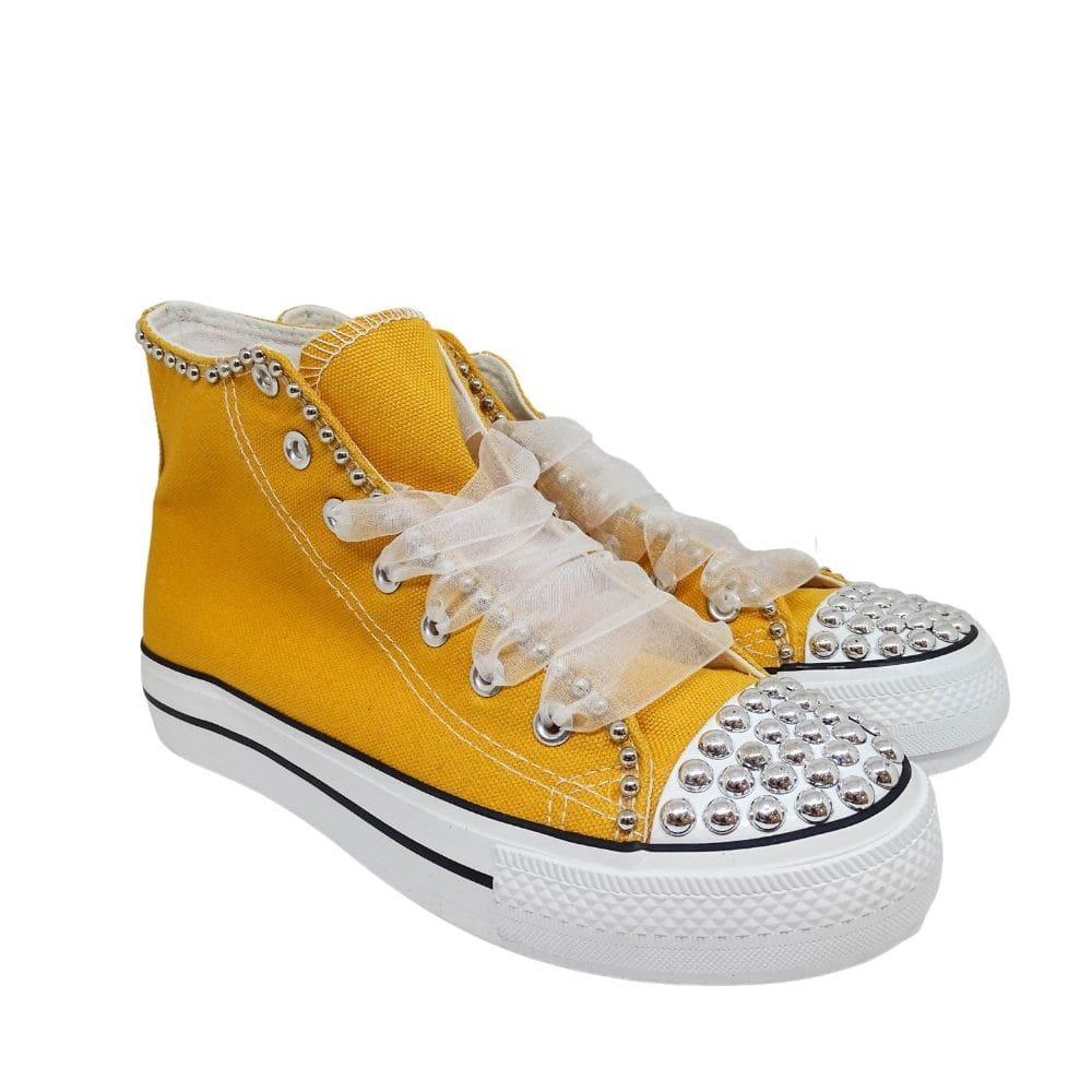 Sneakers Tela Micro Borchie
