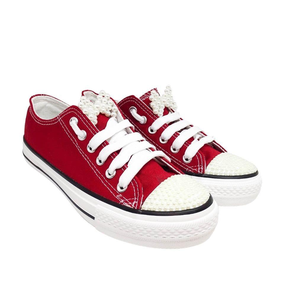 Sneakers Tela Fiocco Perle