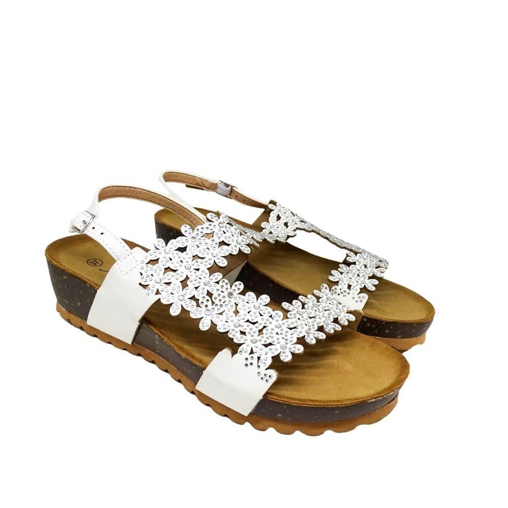 Sandalo Strass Bianco