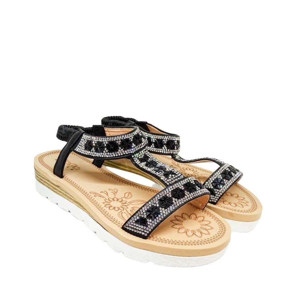 Sandalo Strass Nero E Argento