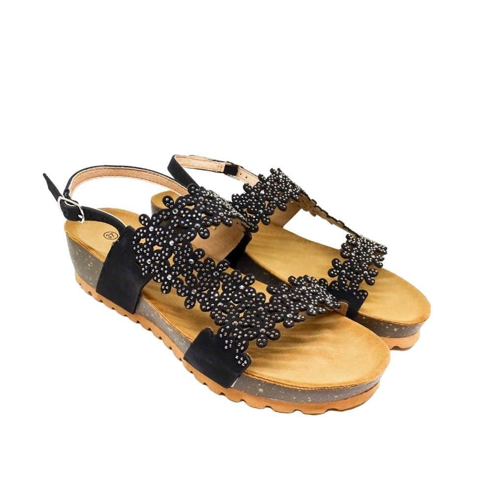 Sandalo Fiori Strass Nero