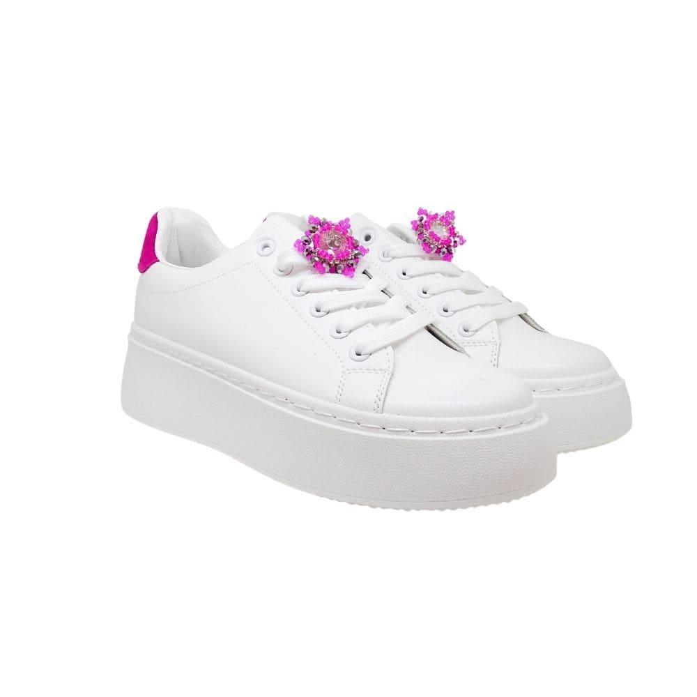 Sneakers Bianche Tallone Fucsia