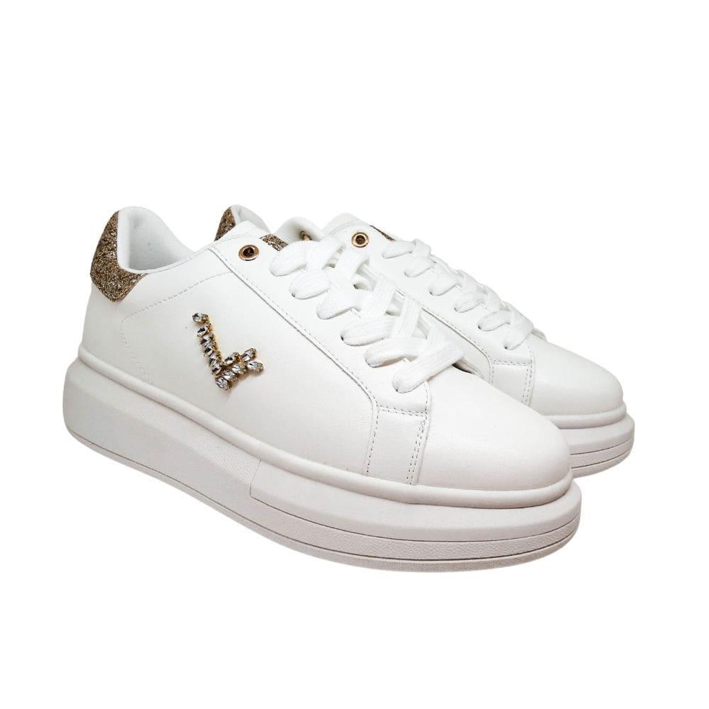 Sneakers Bianche Glitter Oro